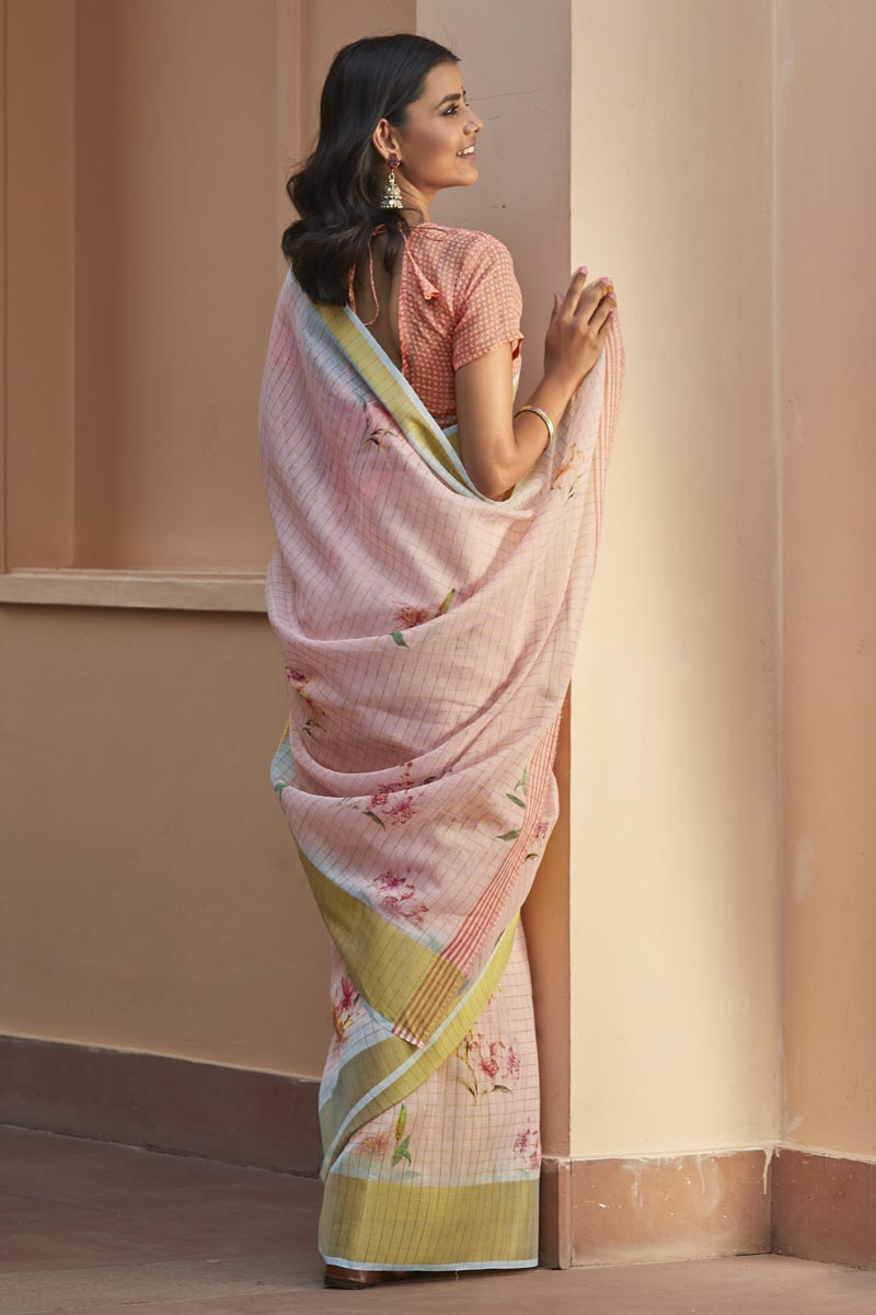 Regular Wear Elegant Peach Color Printed Saree In Linen Fabric