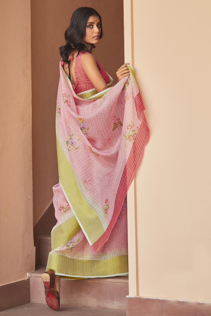 Regular Wear Pink Color Elegant Printed Saree In Linen Fabric