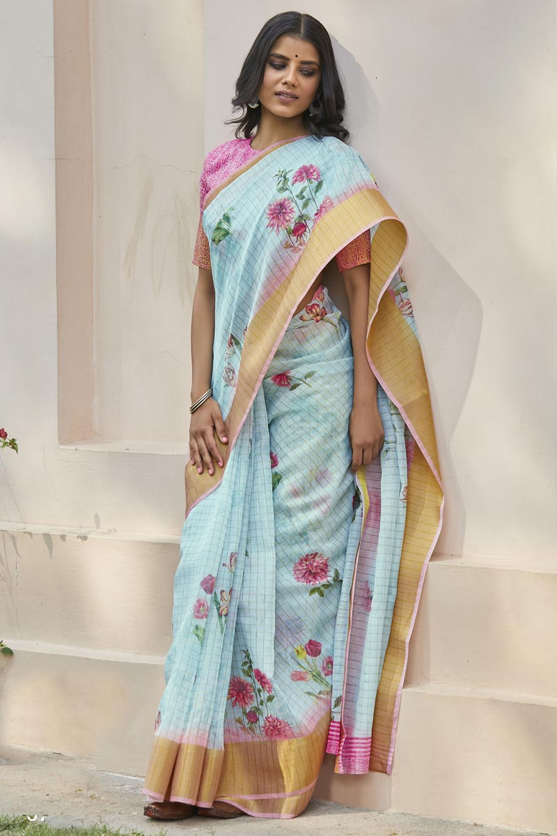 Cyan Color Elegant Regular Wear Linen Fabric Printed Saree