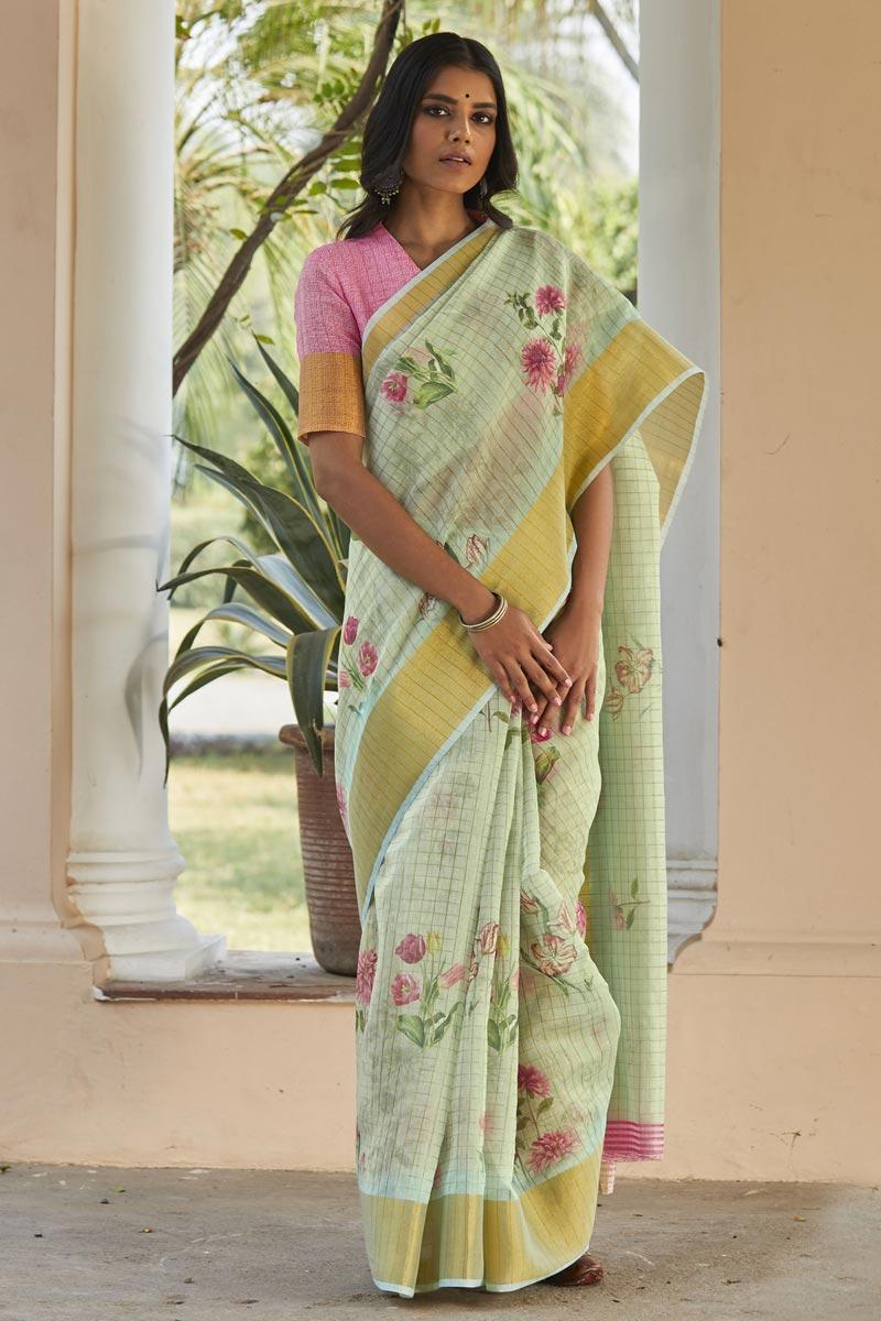 Regular Wear Elegant Linen Fabric Printed Saree In Sea Green Color