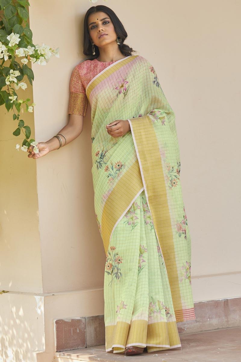 Regular Wear Linen Fabric Elegant Sea Green Color Printed Saree