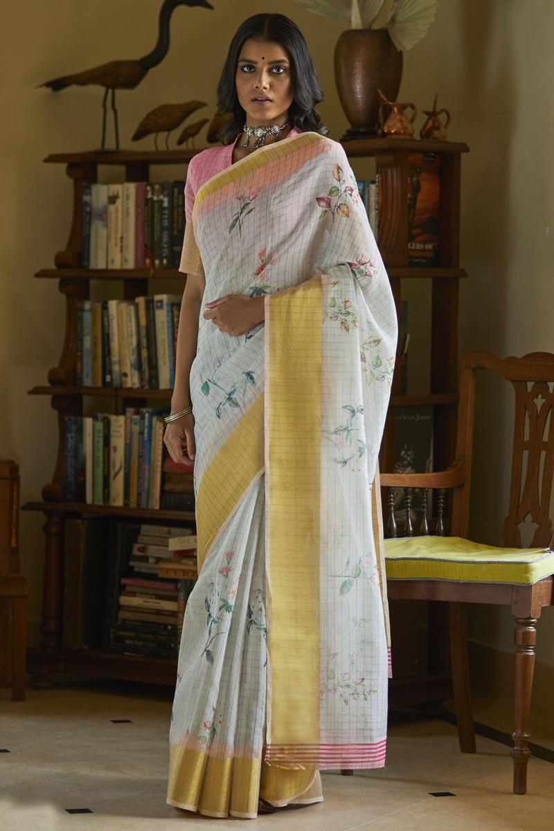Regular Wear Linen Fabric Elegant Printed Saree In Off White Color