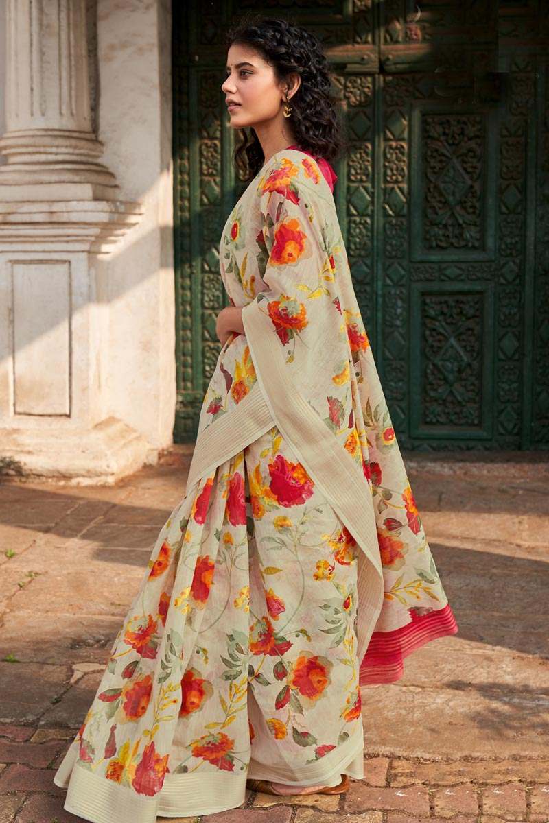 Casual Wear Classic Beige Color Printed Saree In Linen Fabric