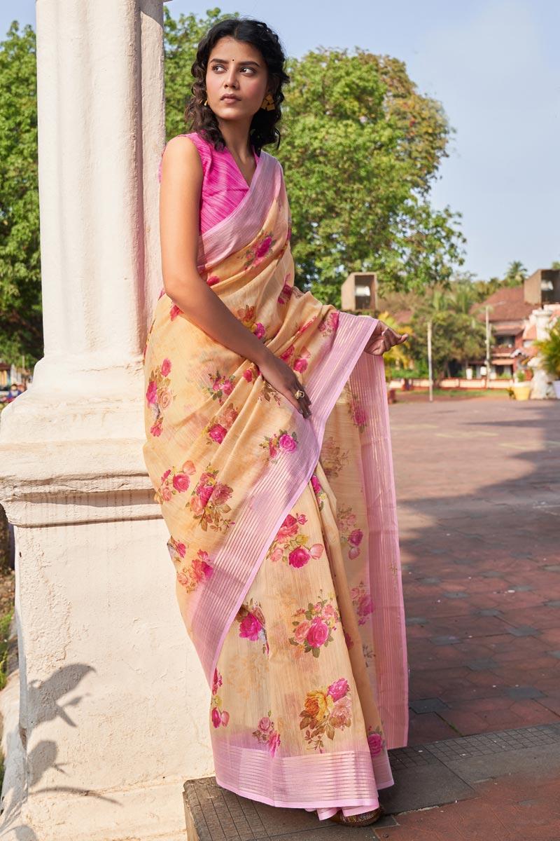 Casual Wear Peach Color Classic Linen Fabric Printed Saree