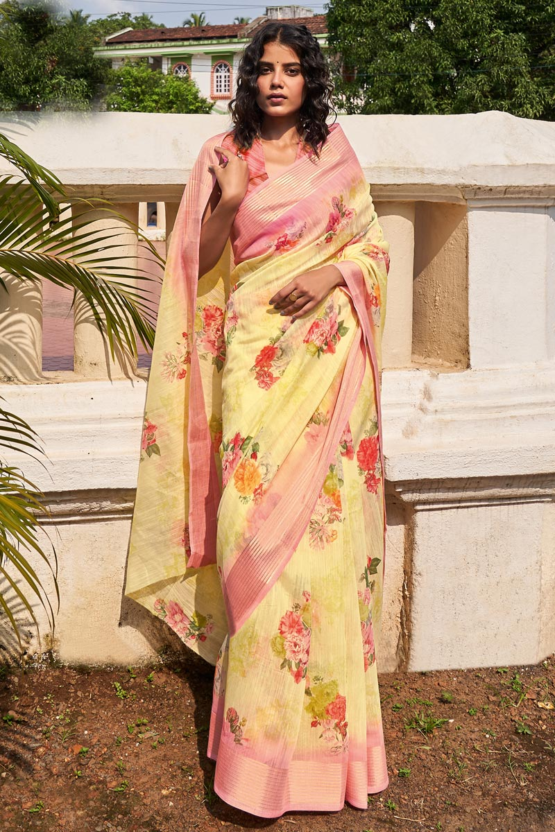 Casual Wear Yellow Color Classic Printed Saree In Linen Fabric