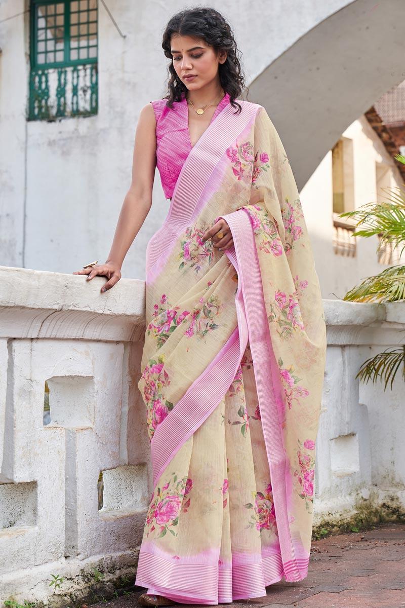 Casual Wear Classic Cream Color Printed Linen Fabric Saree