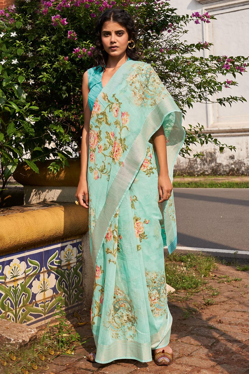 Sea Green Color Classic Casual Wear Linen Fabric Printed Saree