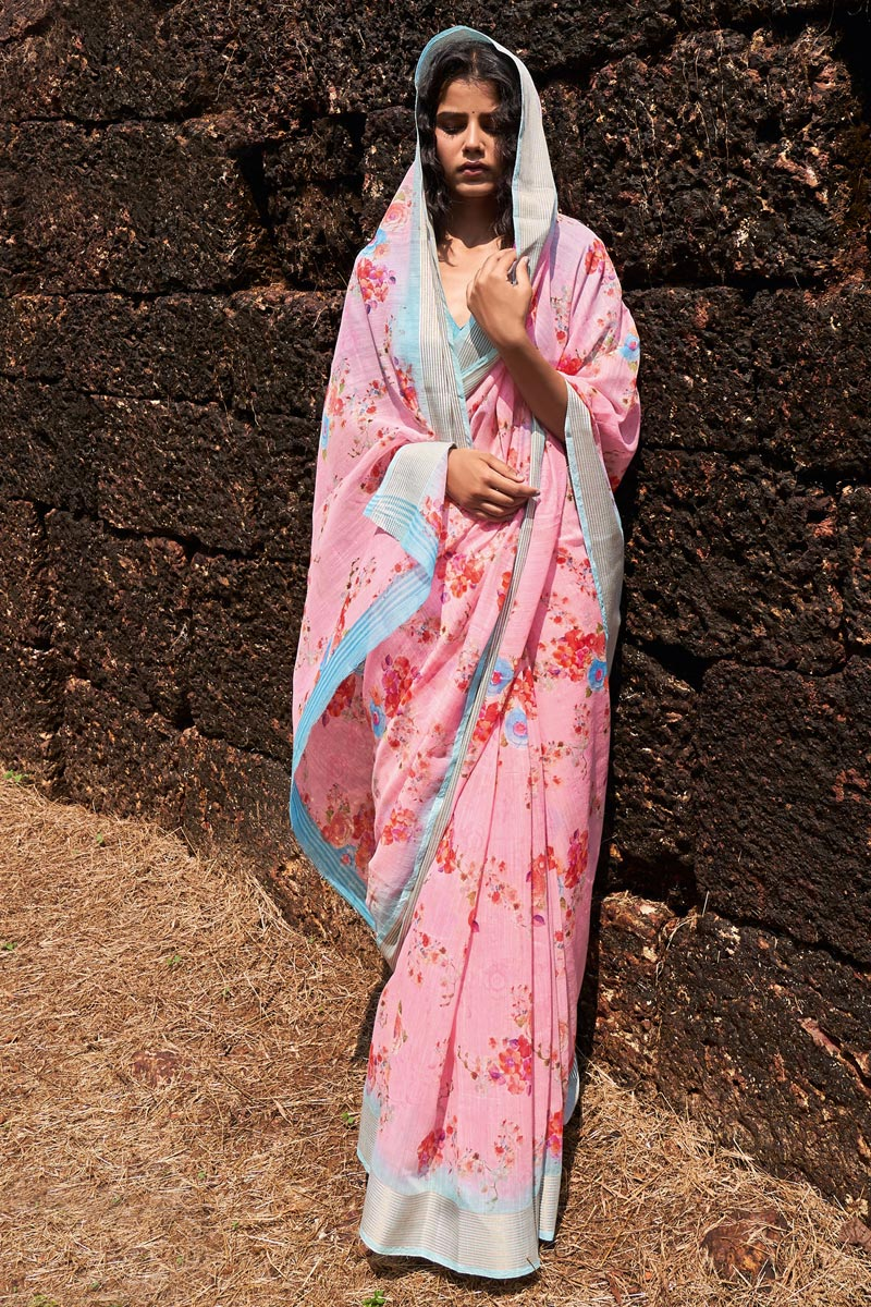Linen Fabric Casual Wear Pink Color Classic Printed Saree