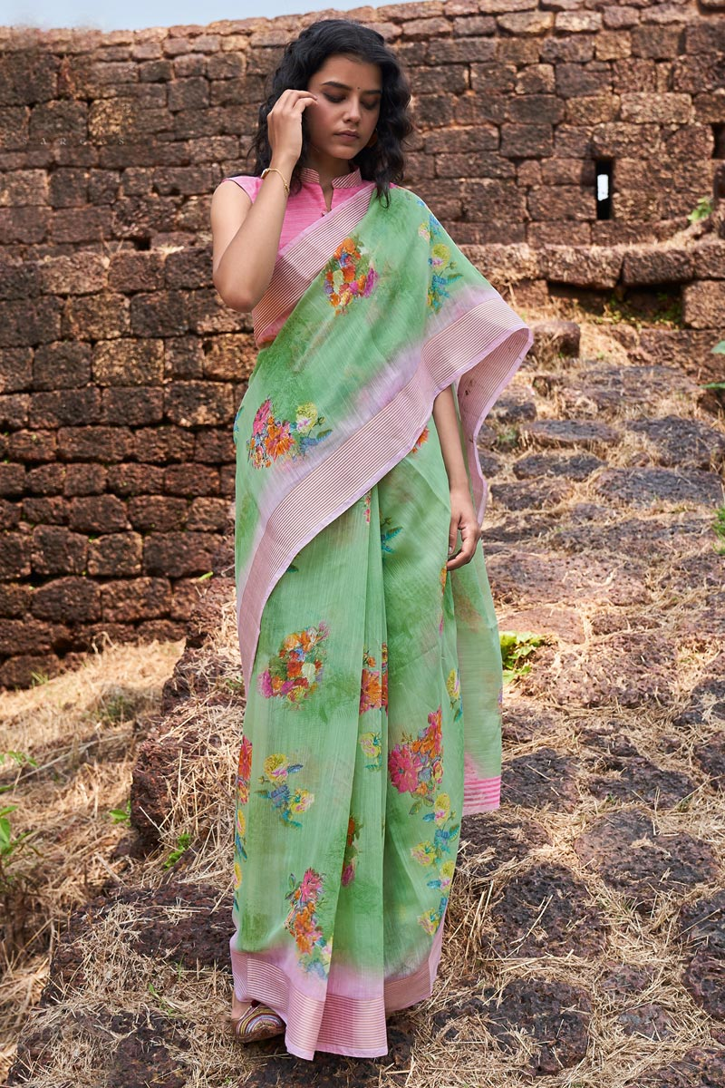 Casual Wear Classic Linen Fabric Printed Saree In Green Color