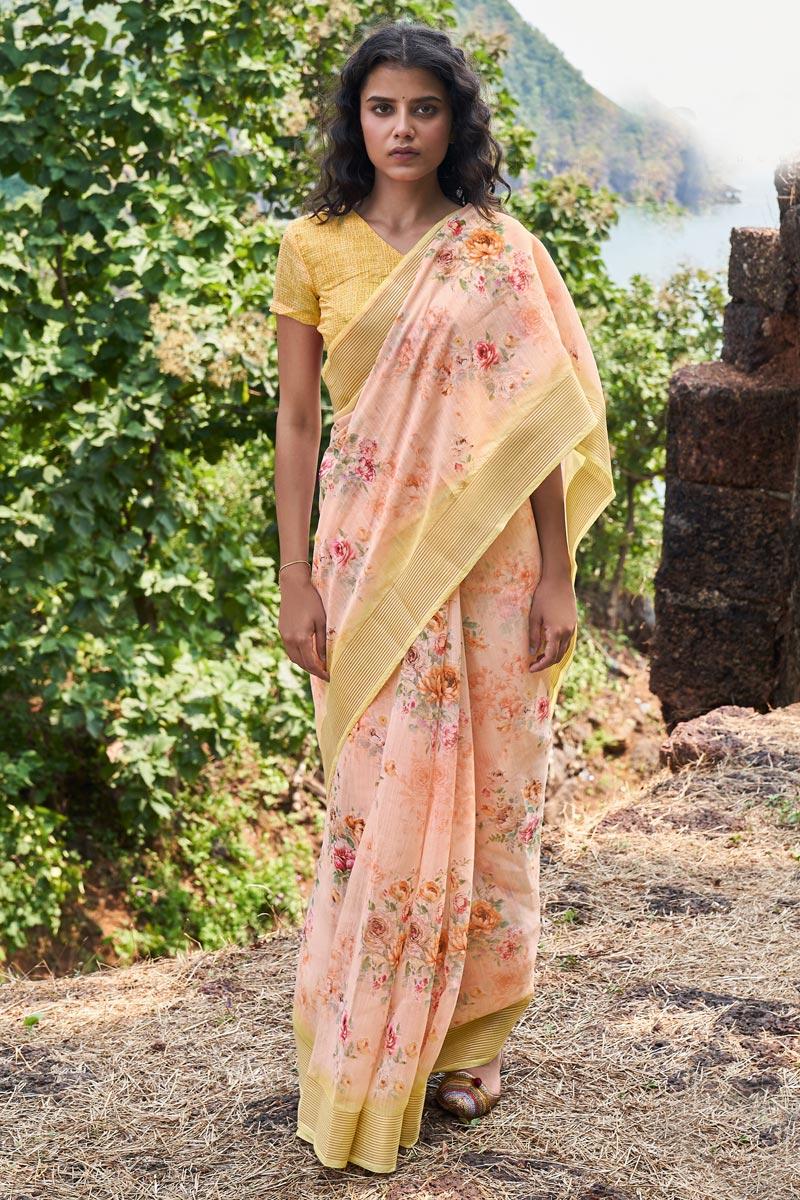 Casual Wear Linen Fabric Classic Printed Saree In Peach Color