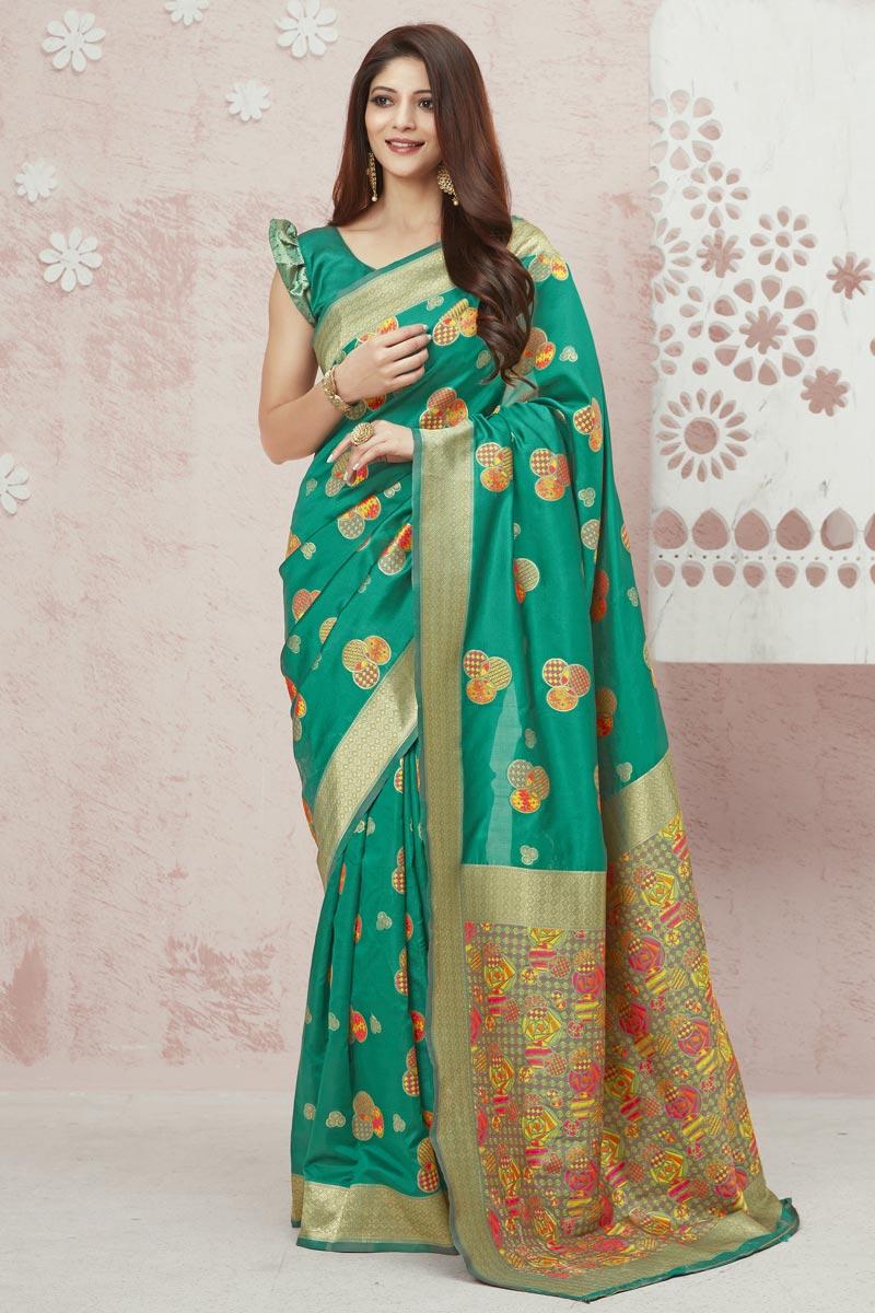 Art Silk Fabric Party Wear Weaving Work Saree In Cyan Color