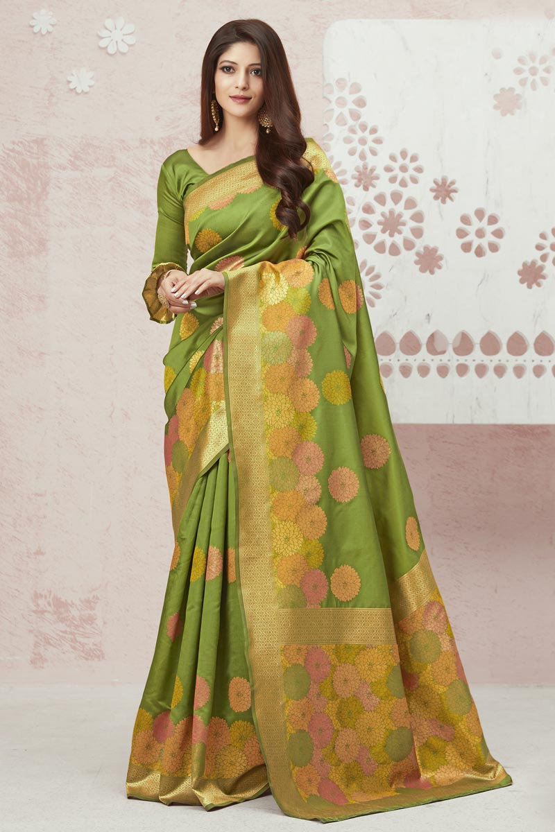 Green Color Traditional Weaving Work Saree In Art Silk Fabric