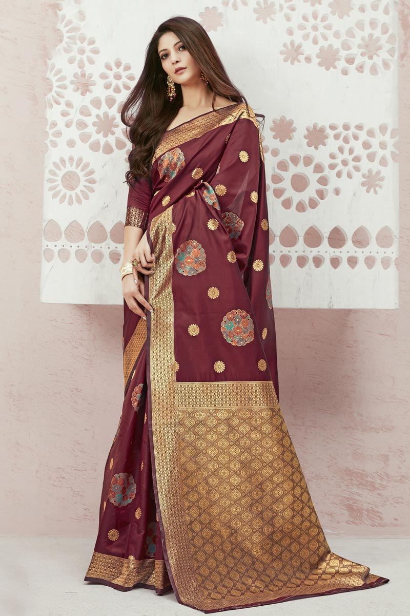 Maroon Color Art Silk Fabric Function Wear Weaving Work Saree