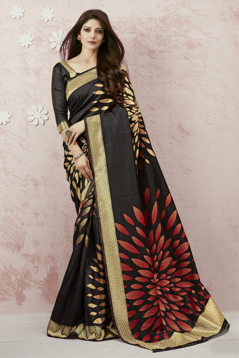 Art Silk Fabric Designer Weaving Work Saree In Black Color