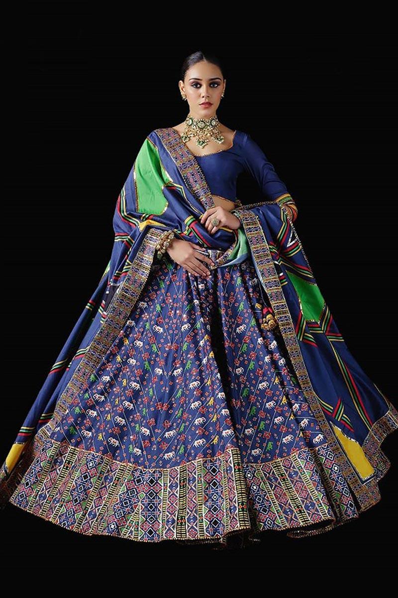 Blue Color Art Silk Fabric Patola Printed Reception Wear Readymade Lehenga Choli