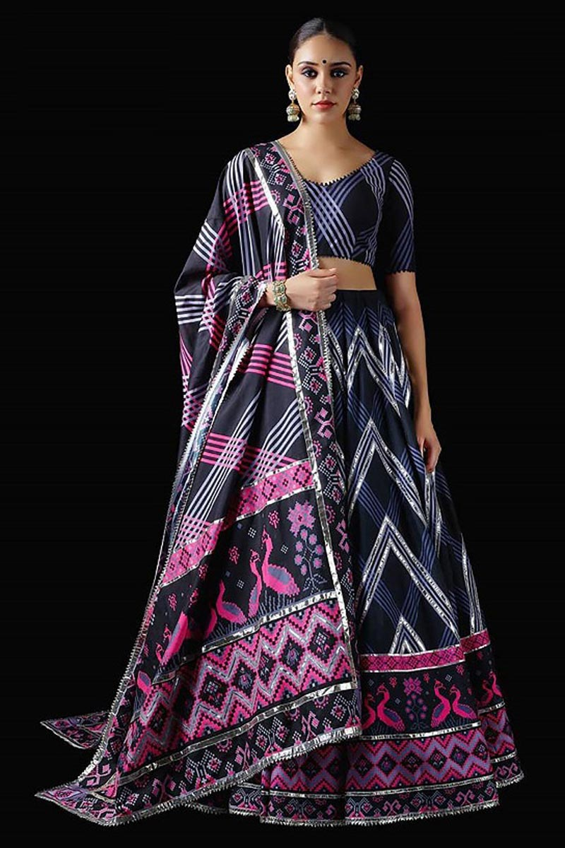 Patola Printed Designs Art Silk Fabric Black Color Wedding Wear Readymade Lehenga Choli