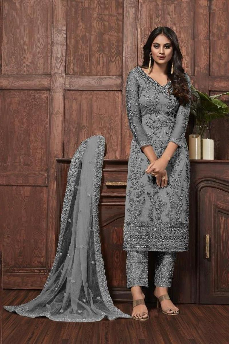 Grey Color Festive Wear Chic Embroidered Net Fabric Straight Cut Dress