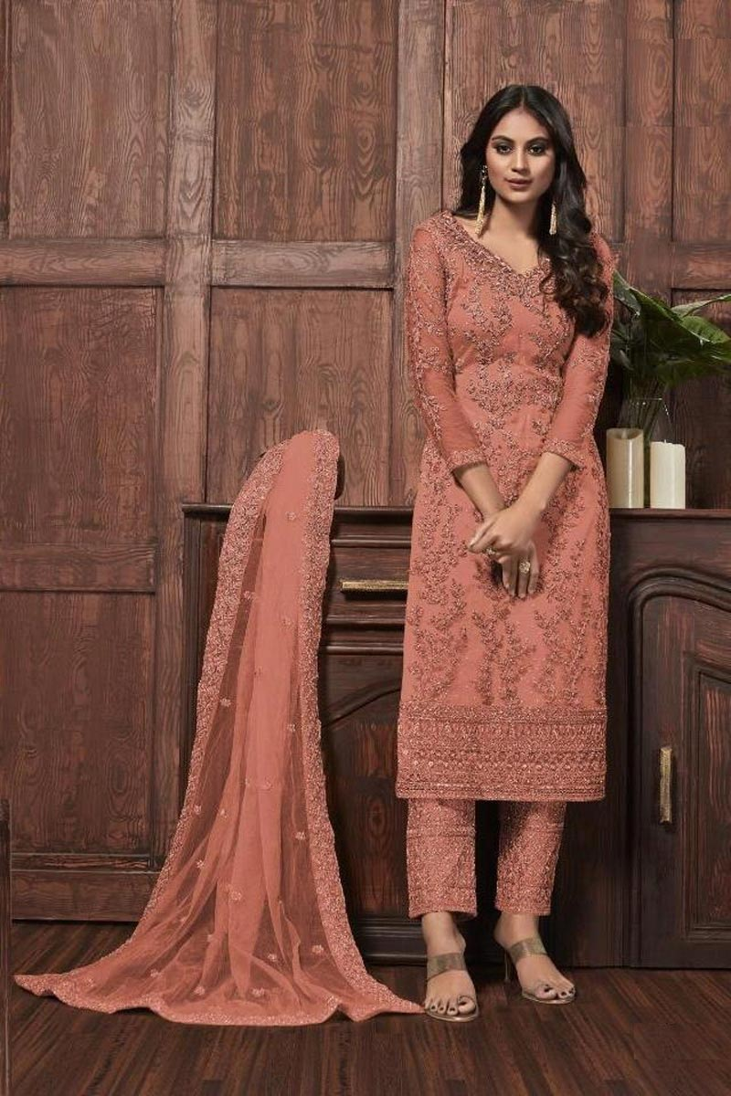 Peach Color Festive Wear Chic Embroidered Straight Cut Suit In Net Fabric