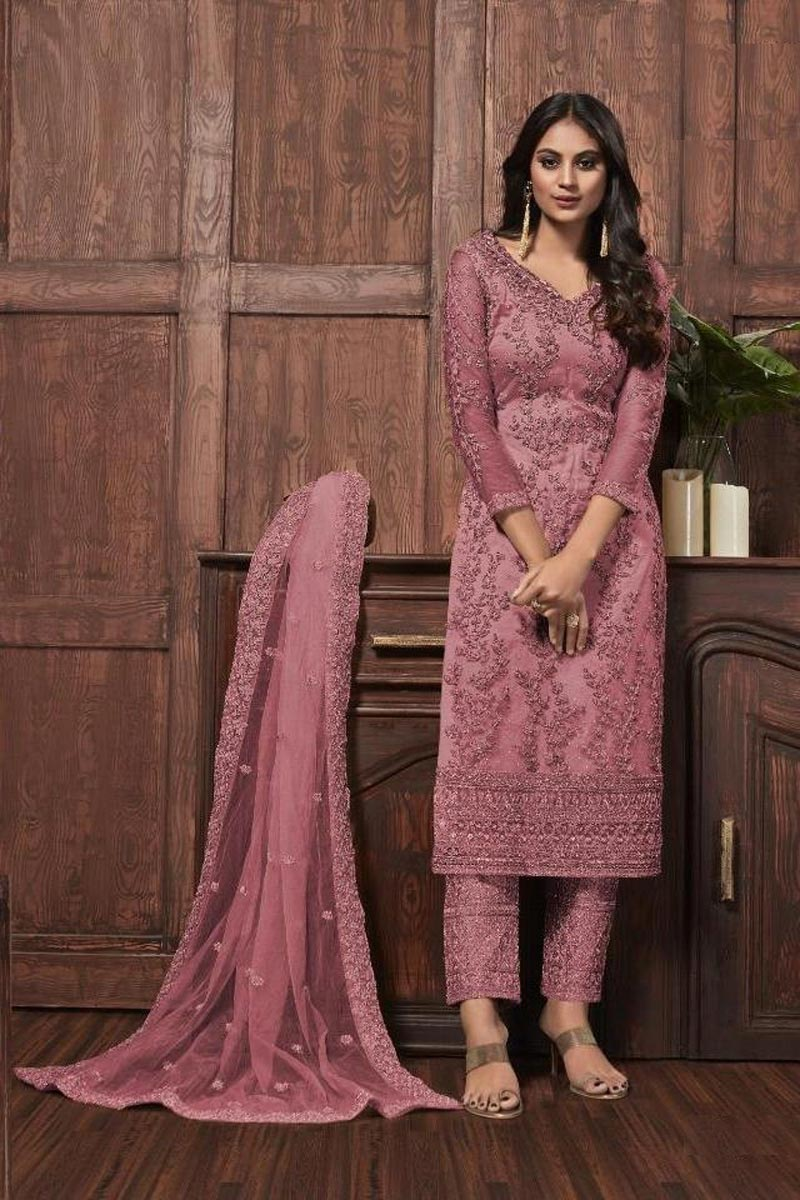 Festive Wear Pink Color Net Fabric Chic Embroidered Straight Cut Dress