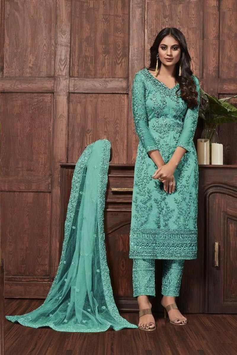 Net Fabric Festive Wear Chic Embroidered Straight Cut Suit In Sea Green Color