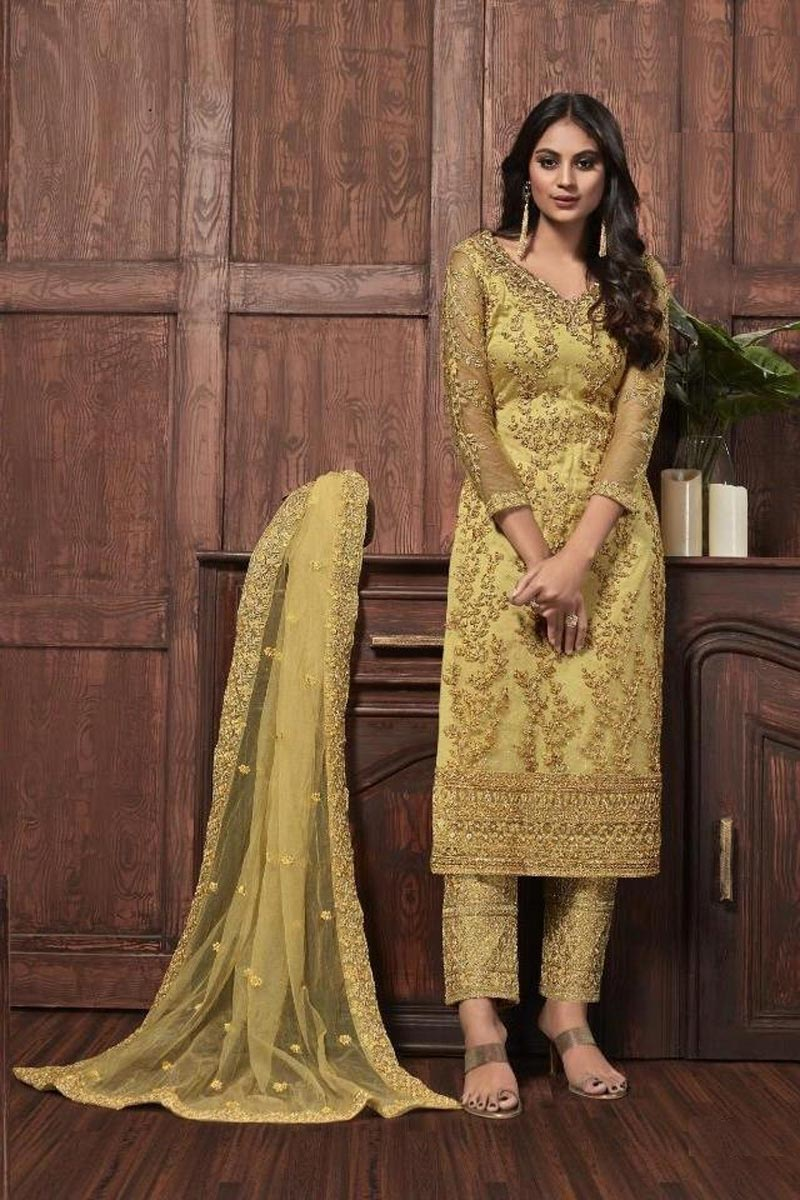 Festive Wear Yellow Color Chic Embroidered Straight Cut Net Fabric Dress