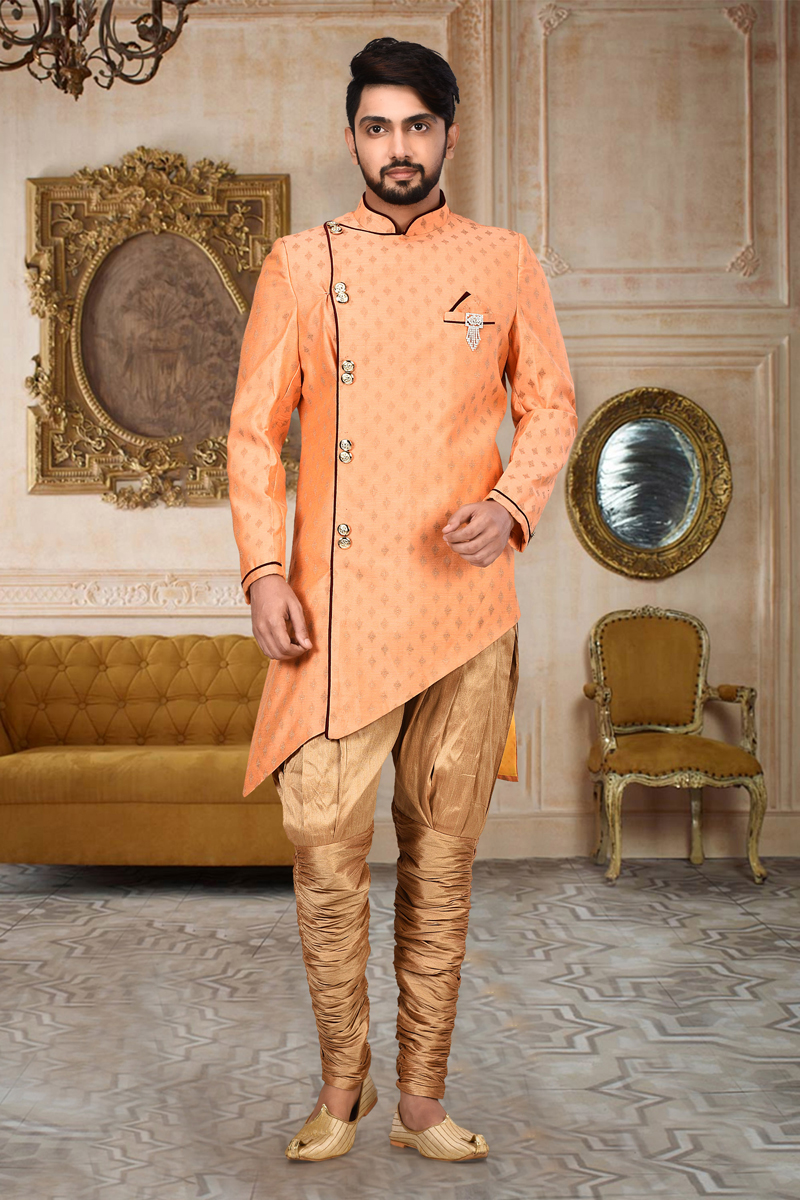 Sangeet Wear Cotton And Linen Fabric Indo Western Sherwani In Peach Color For Men