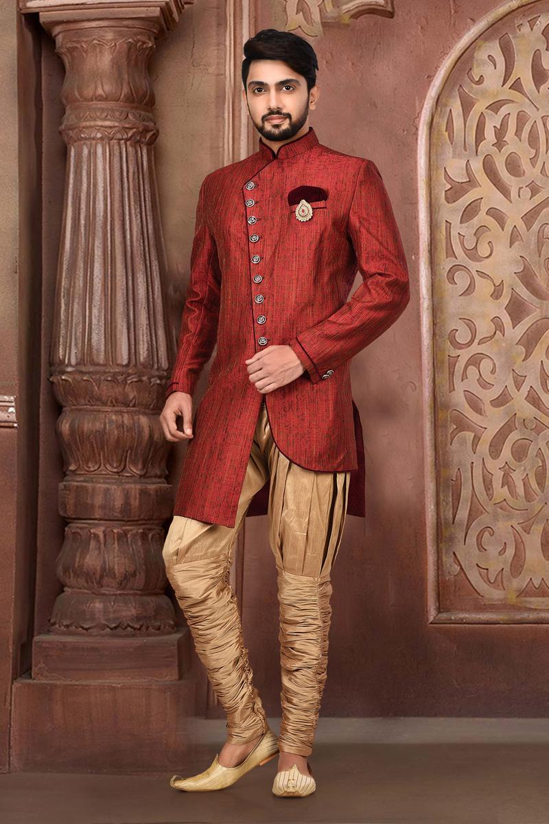Maroon Color Fancy Fabric Designer Indo Western Sherwani