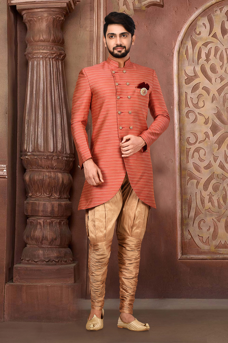 Mens Wedding Wear Fancy Fabric Red Color Indo Western Sherwani