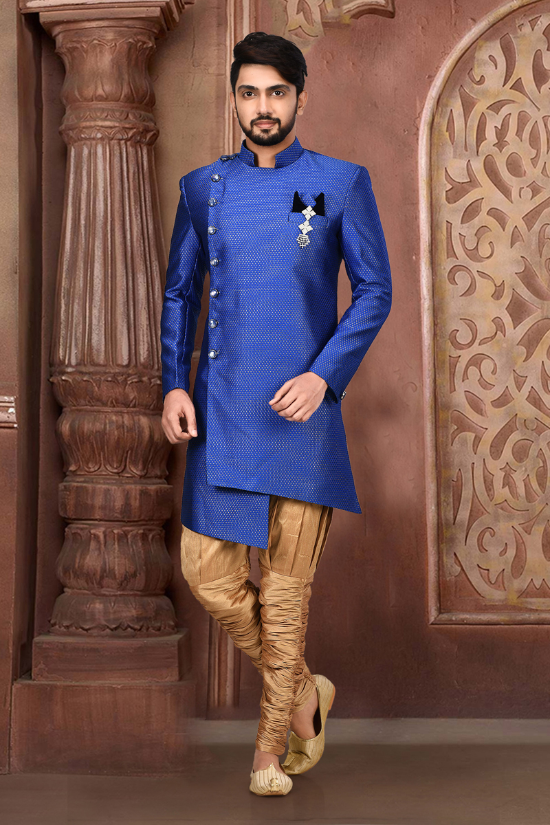 Wedding Wear Cotton And Linen Fabric Indo Western Sherwani In Blue Color For Men