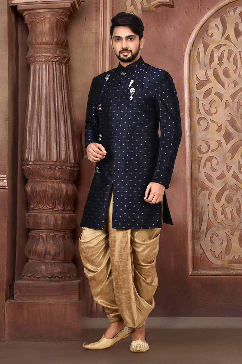 Navy Blue Color Cotton And Linen Fabric Wedding Wear Designer Dhoti Style Indo Western Sherwani