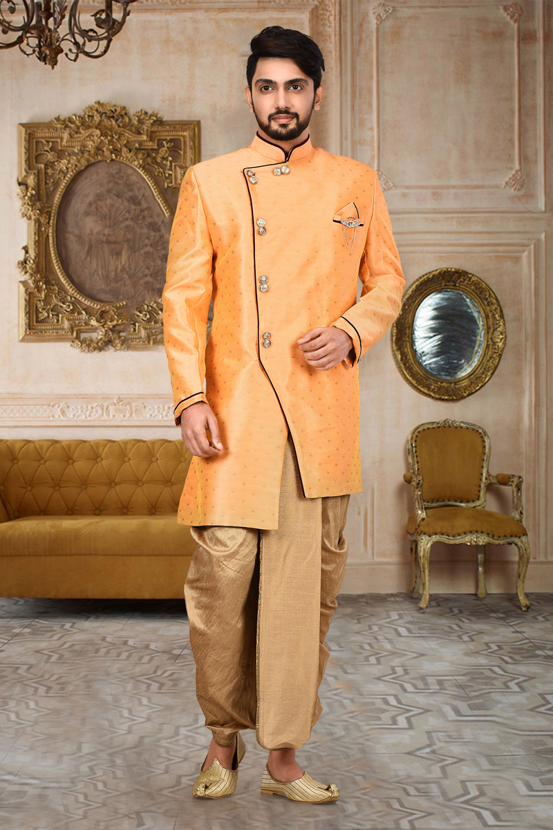 Sangeet Wear Cotton And Linen Fabric Dhoti Style Indo Western Sherwani