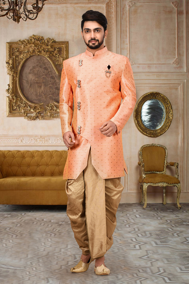 Cotton And Linen Fabric Pink Color Wedding Wear Dhoti Style Indo Western Sherwani