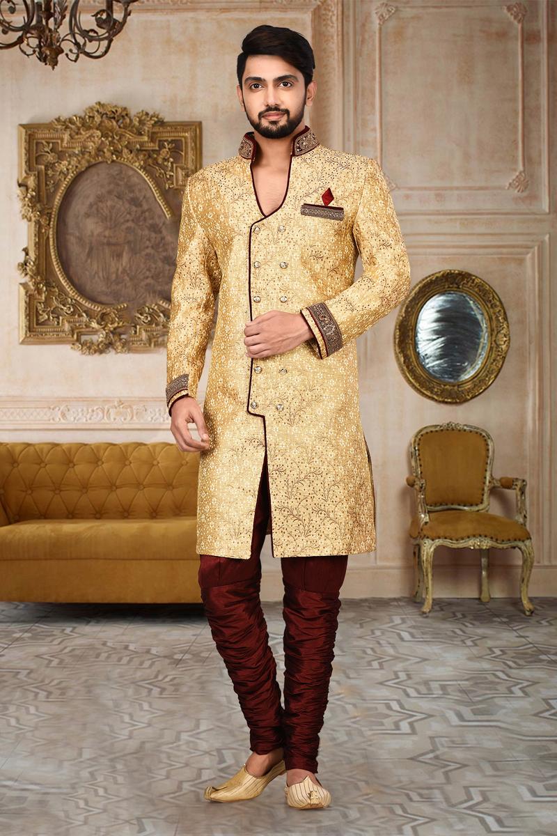 Beige Color Fancy Fabric Designer Indo Western Sherwani