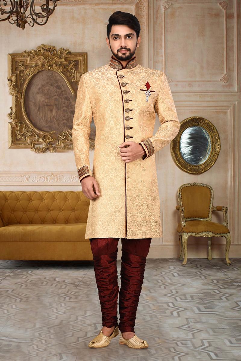 Mens Wedding Wear Fancy Fabric Chikoo Color Indo Western Sherwani
