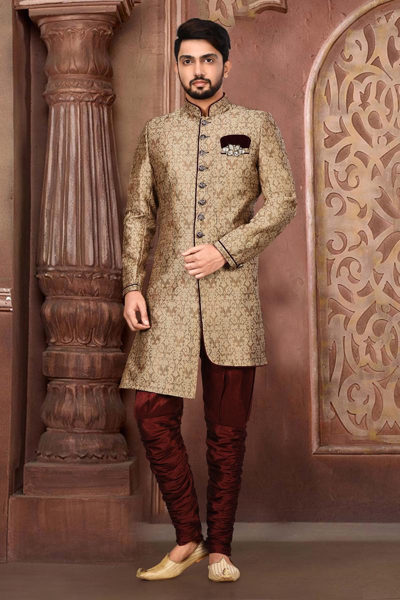 Mens Wedding Wear Fancy Fabric Dark Beige Color Indo Western Sherwani