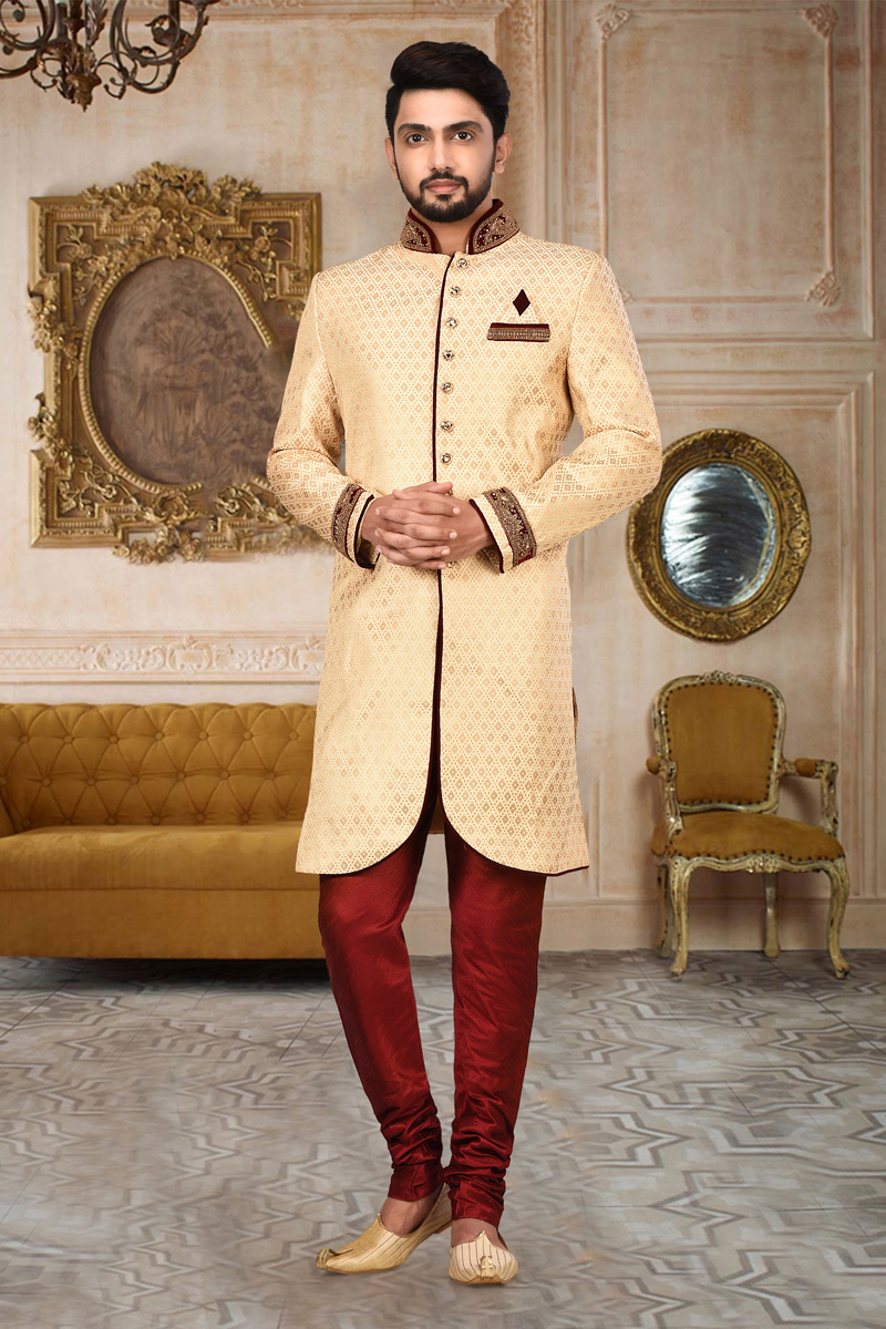 Fancy Fabric Wedding Wear Indo Western Sherwani In Beige Color