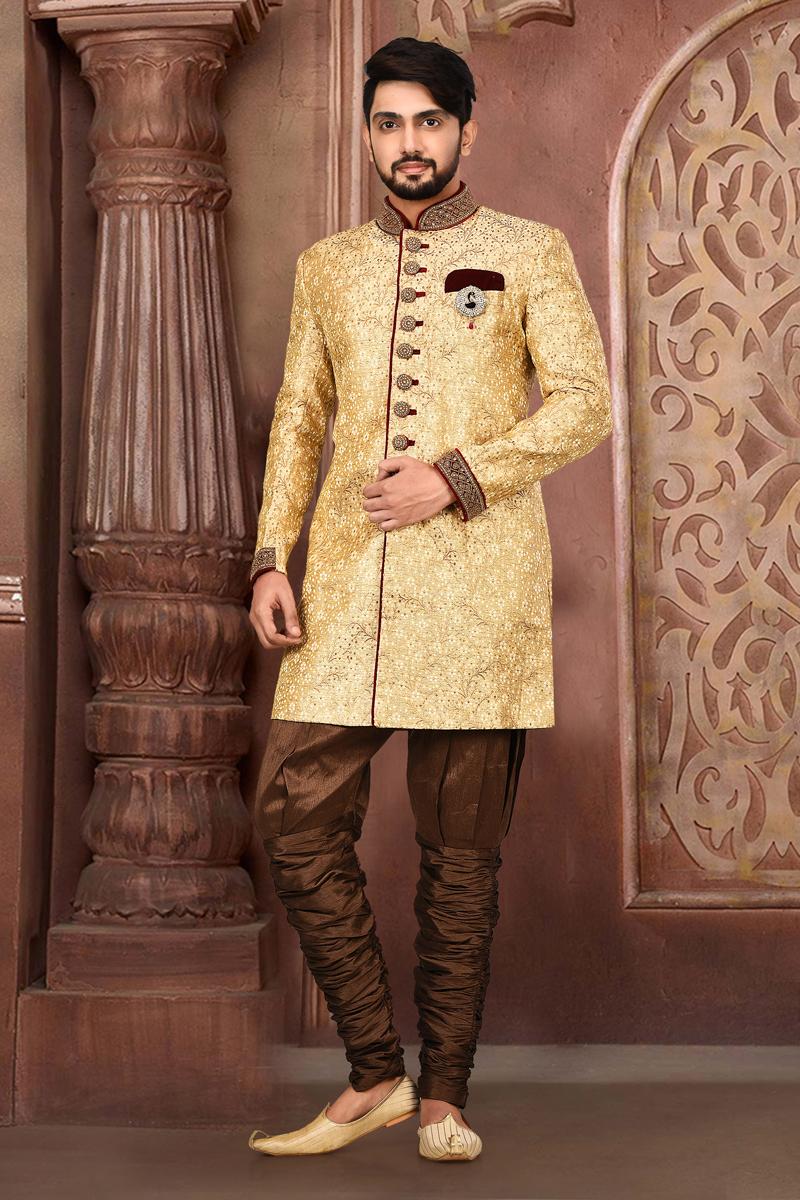 Beige Color Fancy Fabric Designer Wedding Wear Indo Western Sherwani