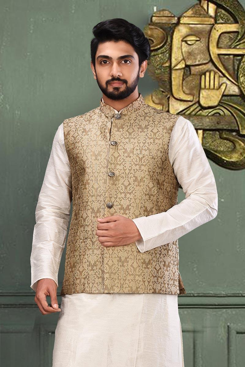 Sangeet Wear Fancy Fabric Jacket In Cream Color For Men