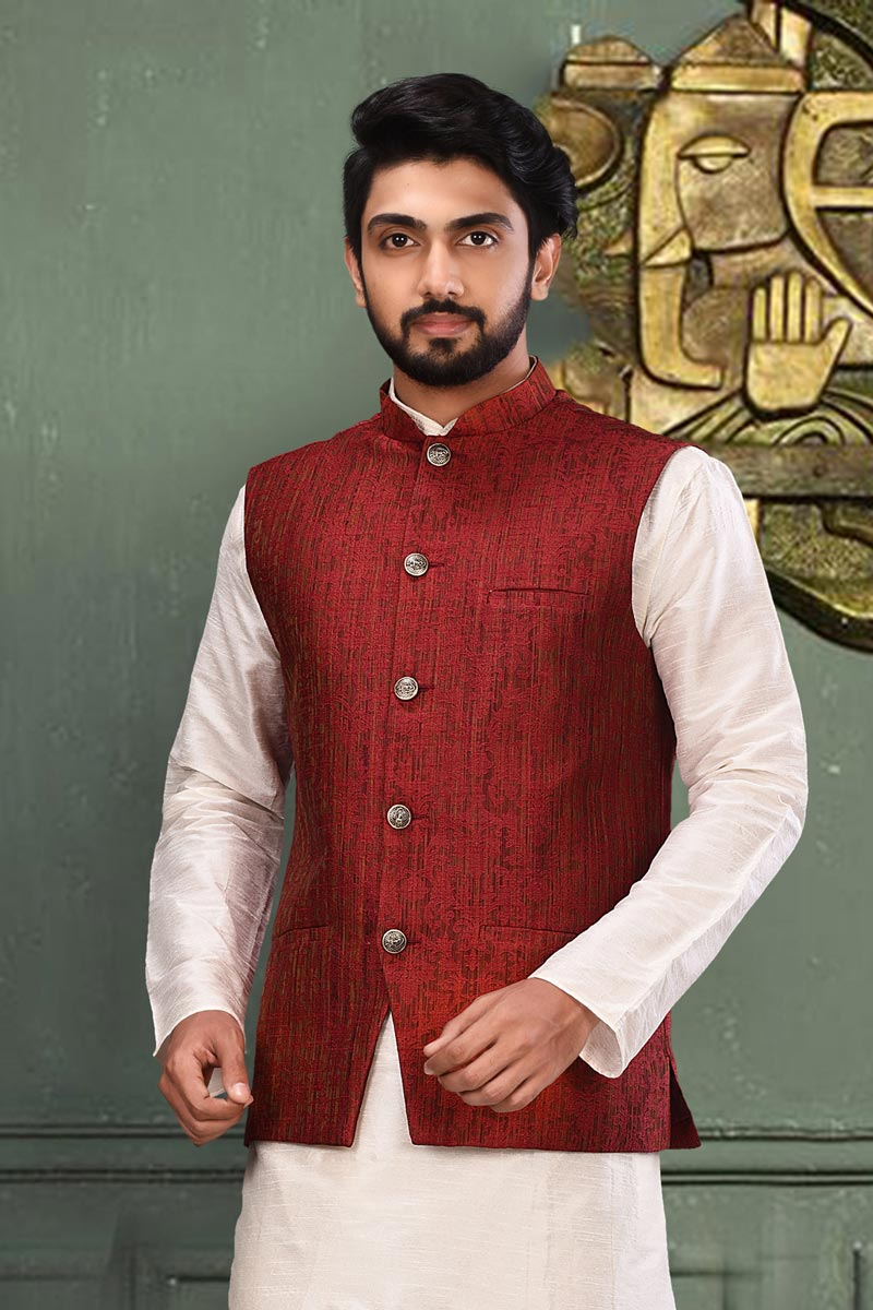 Function Wear Fancy Fabric Jacket In Maroon Color For Men