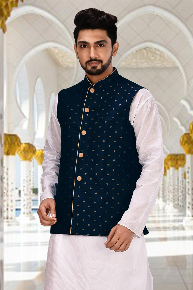 Mens Function Wear Cotton Fabric Navy Blue Color Jacket