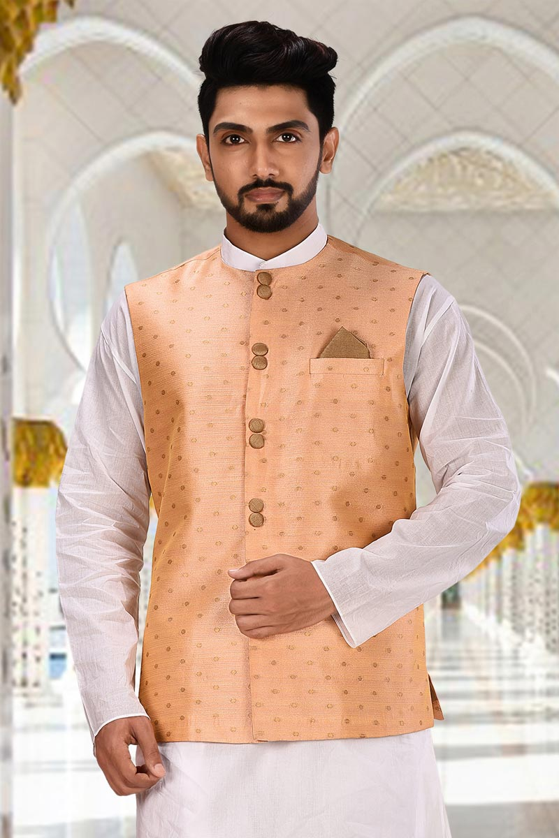 Peach Color Cotton Fabric Function Wear Designer Jacket
