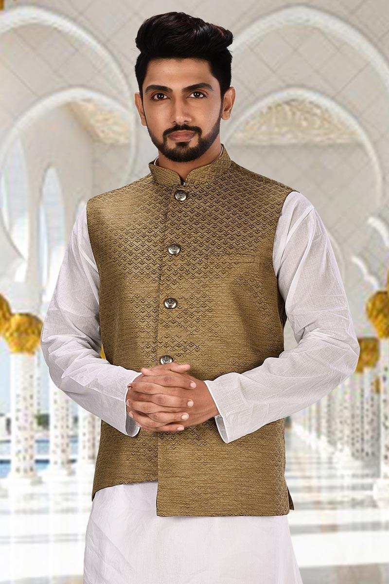 Brown Color Fancy Fabric Designer Jacket