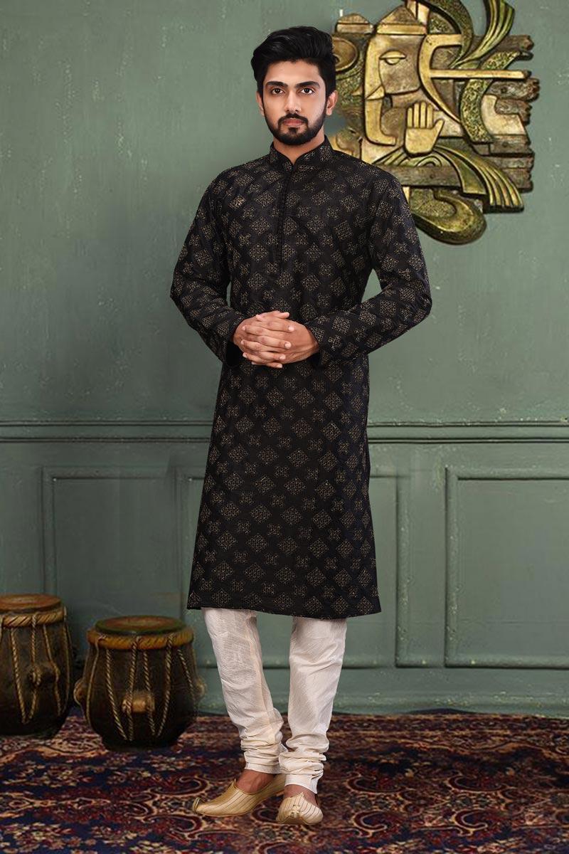 Sangeet Wear Classic Dhupion Fabric Kurta Pyjama For Men In Black Color