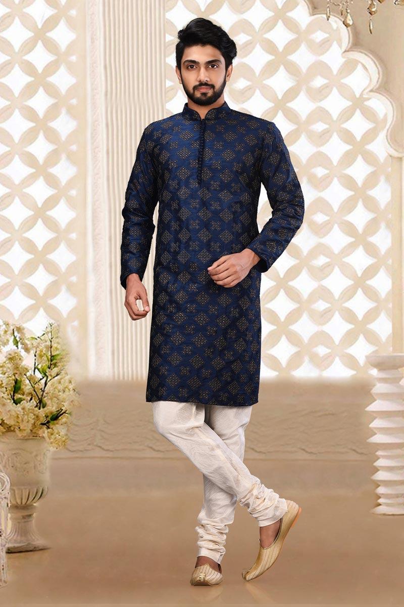Dhupion Fabric Classic Navy Blue Color Sangeet Wear Mens Kurta Pyjama