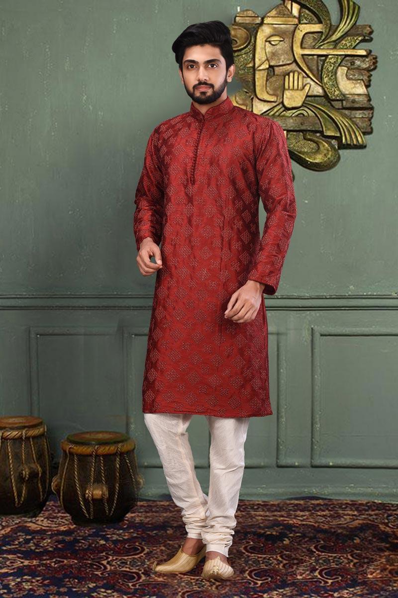 Classic Red Color Sangeet Wear Dhupion Fabric Designer Kurta Pyjama