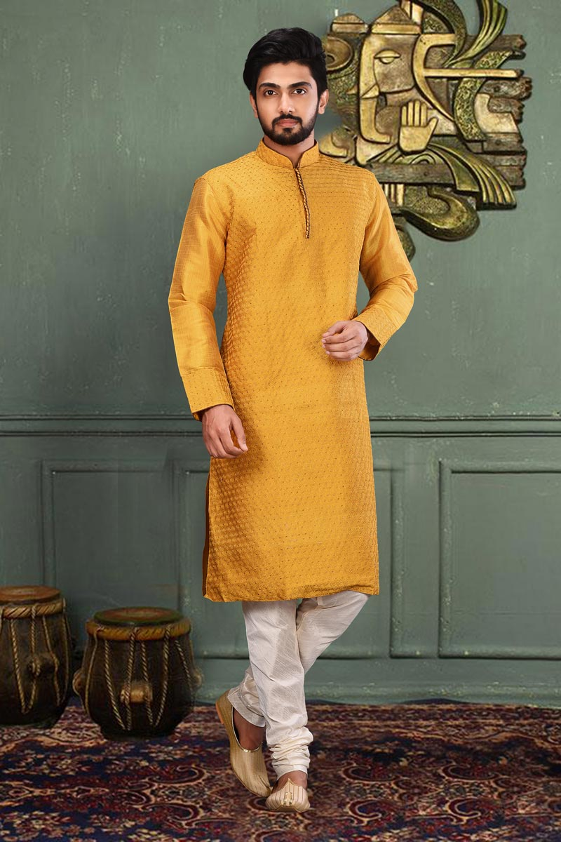 Mens Function Wear Art Silk Fabric Mustard Color Kurta Pyjama