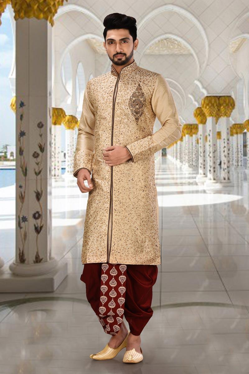 Function Wear Art Silk Fabric Fancy Kurta Pyjama In Beige Color For Men