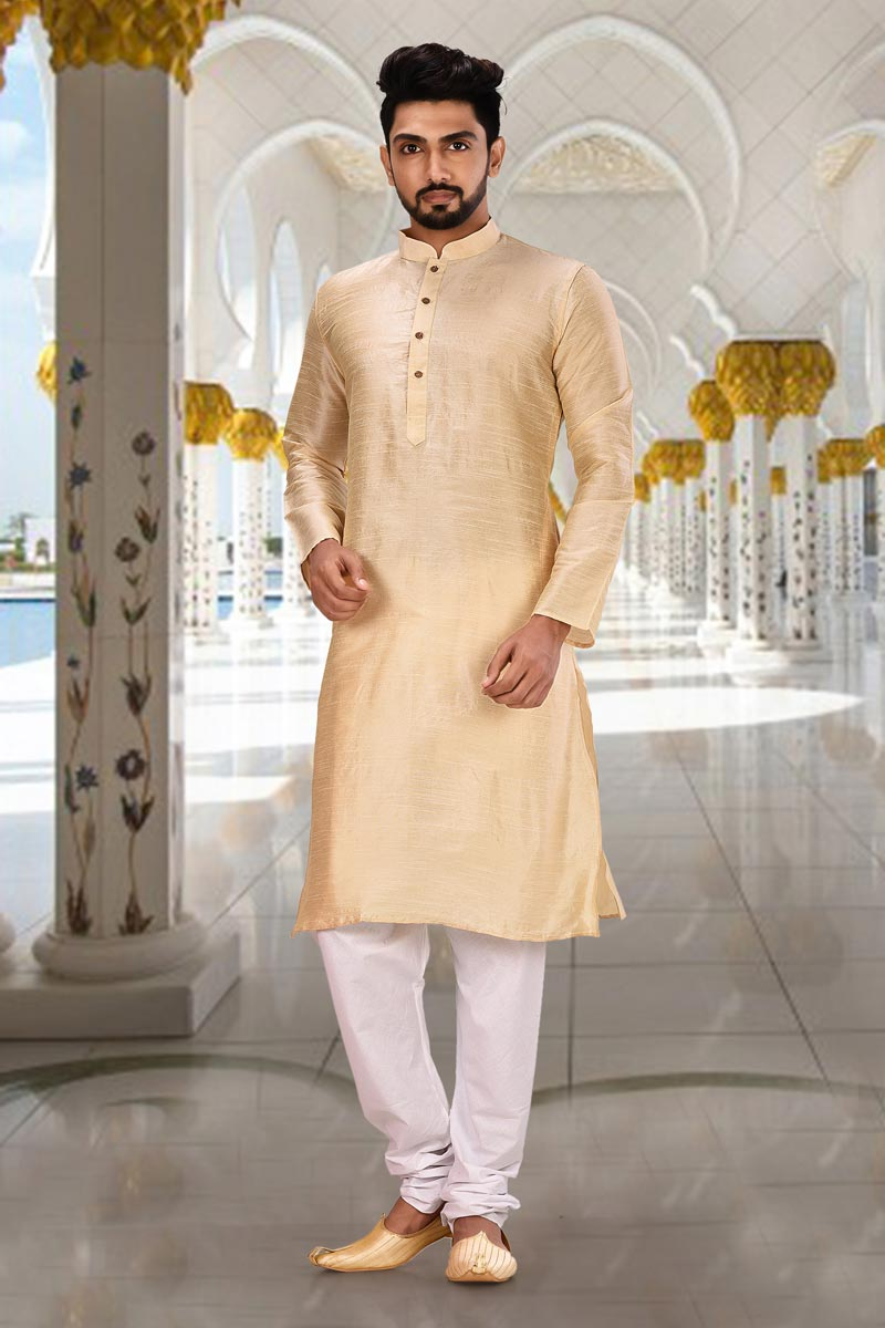 Sangeet Wear Beige Color Classic Dhupion Fabric Designer Kurta Pyjama
