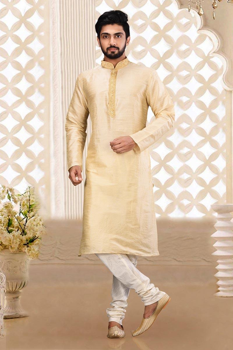 Beige Color Art Silk Fabric Function Wear Fancy Kurta Pyjama