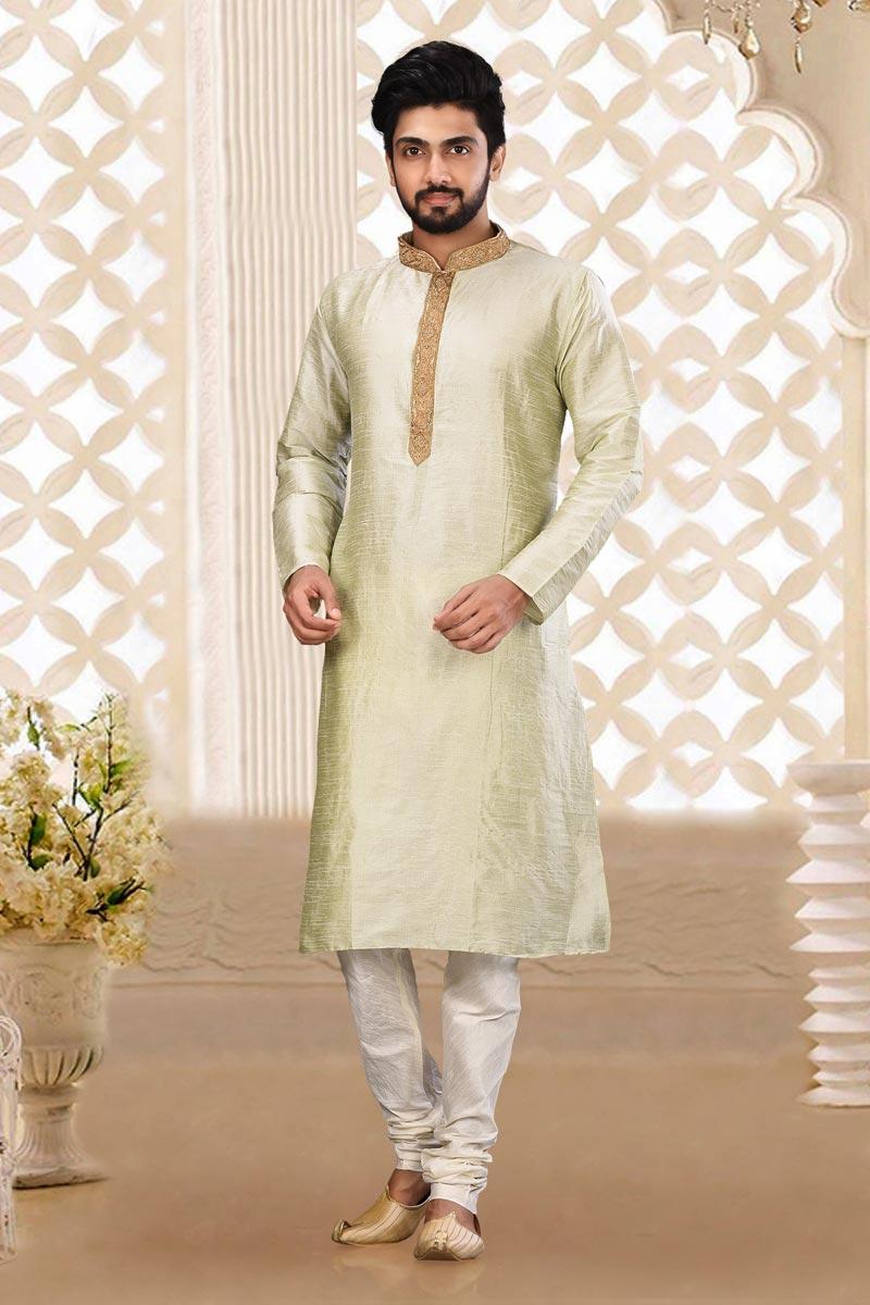 Sangeet Wear Classic Sea Green Color Kurta Pyjama For Men In Dhupion Fabric
